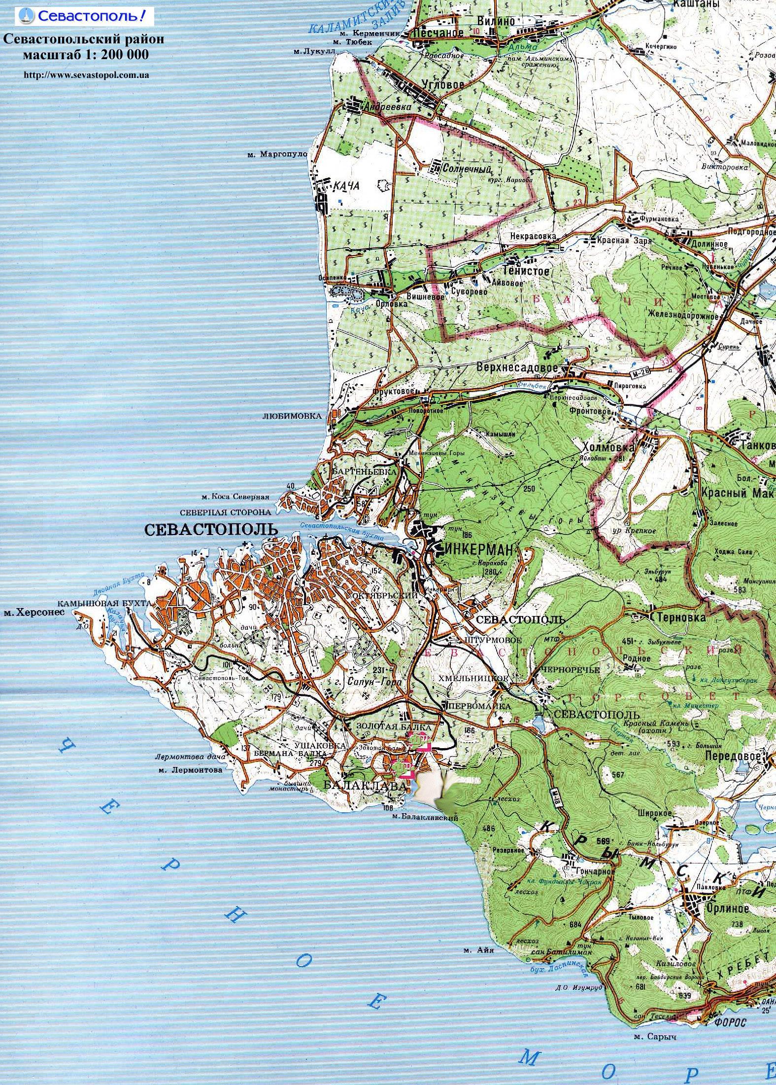 Карта Севастополя с улицами и домами. Где находится ...